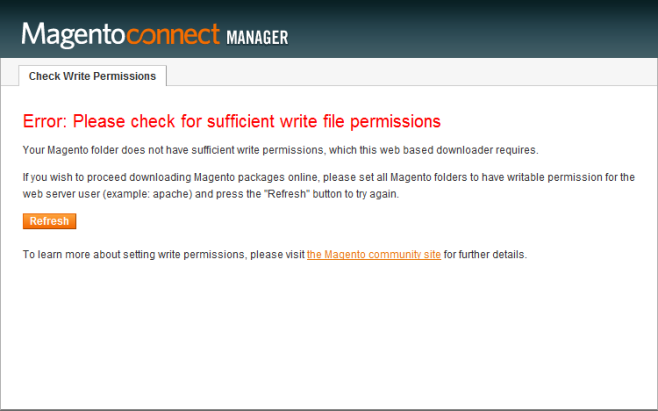 Magento write file permission+ Magento connect manager