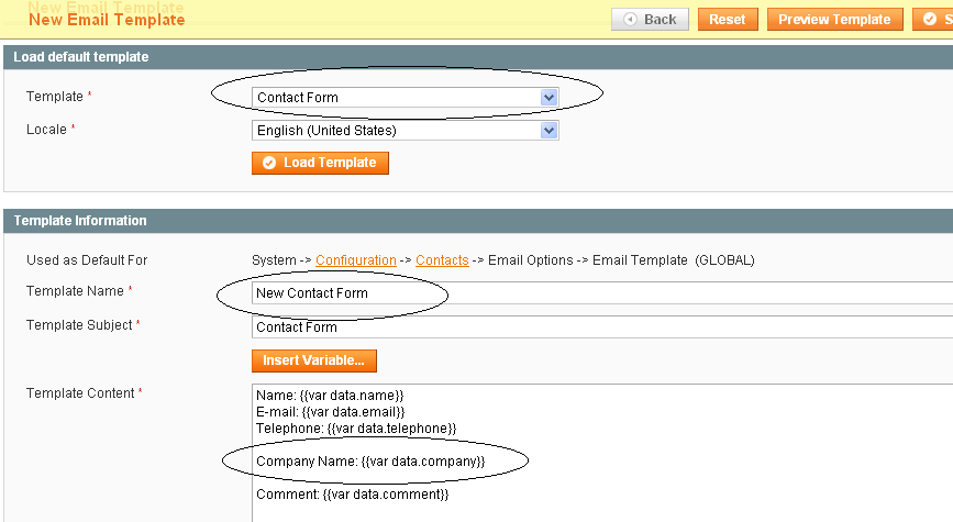 Magento Contact Form Template